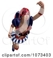 Clipart 3d Super Woman Flying With A Jet Pack In An American Costume 2 Royalty Free CGI Illustration by Ralf61