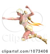 Clipart 3d Super Woman Flying With A Jet Pack In A Gold Costume 3 Royalty Free CGI Illustration by Ralf61