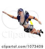 Clipart 3d Super Woman Flying With A Jet Pack In A Blue Costume 2 Royalty Free CGI Illustration by Ralf61