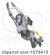 3d Super Hero Woman Flying With A Jet Pack 6