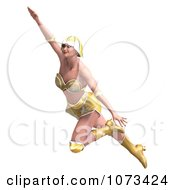 Clipart 3d Super Woman Flying In A Gold Costume Royalty Free CGI Illustration by Ralf61