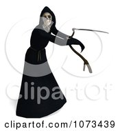 Clipart 3d Grim Reaper Of Death Swinging A Scythe 1 Royalty Free CGI Illustration