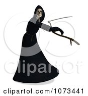 Clipart 3d Grim Reaper Of Death Swinging A Scythe 3 Royalty Free CGI Illustration