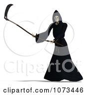 Clipart 3d Grim Reaper Of Death Swinging A Scythe 4 Royalty Free CGI Illustration