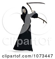 Clipart 3d Grim Reaper Of Death Swinging A Scythe 5 Royalty Free CGI Illustration