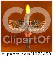 Clipart 3d Female Guardian Angel Holding A Flaming Sword 2 Royalty Free CGI Illustration by Ralf61