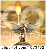 Clipart 3d Female Guardian Angel Holding A Flaming Sword 1 Royalty Free CGI Illustration by Ralf61