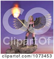 Clipart 3d Female Guardian Angel Holding A Flaming Sword 4 Royalty Free CGI Illustration by Ralf61