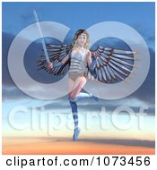 Clipart 3d Female Guardian Angel Holding A Sword 3 Royalty Free CGI Illustration by Ralf61