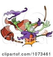 Clipart Wicked Halloween Witch Crashing And Breaking Her Broom Royalty Free Vector Illustration