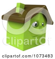 Clipart 3d Sad Green Foreclosed Clay House 2 Royalty Free CGI Illustration
