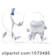 Clipart 3d Tooth Brush Chasing A Tooth Royalty Free CGI Illustration