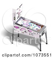 Clipart 3d White Pinball Arcade Game Machine 1 Royalty Free CGI Illustration