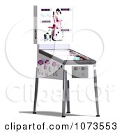Clipart 3d White Pinball Arcade Game Machine 3 Royalty Free CGI Illustration