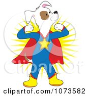 Clipart Strong Super Dog Flexing Royalty Free Vector Illustration
