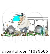Clipart Man And Garbage By A Utility Truck Royalty Free Vector Illustration by djart