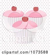 Clipart 3d Cherry Cupcakes Over Polka Dots Royalty Free Vector Illustration by elaineitalia
