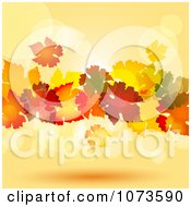 Clipart Colorful Autumn Leaves Floating Against Orange Flares Royalty Free Vector Illustration