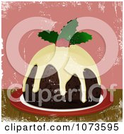 Clipart Christmas Pudding Topped With Brandy Cream Sauce And Holly Over Pink Grunge Royalty Free Vector Illustration by elaineitalia