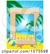 Clipart Tropical Beach Vacation Travel Frame With A Surfboard Royalty Free Vector Illustration