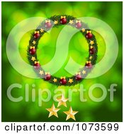 Clipart Christmas Wreath With Three Gold Christmas Stars On Green Royalty Free Vector Illustration by elaineitalia