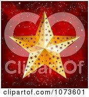 Clipart 3d Gold Christmas Star Over Red Stars Royalty Free Vector Illustration by elaineitalia