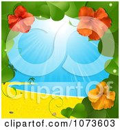 Clipart 3d Hibiscus Flower Vine And Tropical Beach Royalty Free Vector Illustration