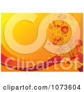 Clipart Orange Wheat And Autumn Leaf Background Royalty Free Vector Illustration