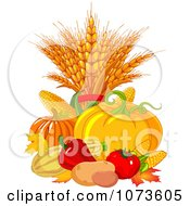 Clipart Autumn Harvest Vegetables And Leaves Royalty Free Vector Illustration by Pushkin