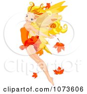 Clipart Beautiful Fall Fairy Flying With Autumn Leaves Royalty Free Vector Illustration by Pushkin