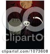 Clipart Halloween Grim Reaper And Tombstone Under A Full Moon And Bats Royalty Free Vector Illustration by Pushkin
