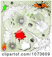 Clipart Comic Explosion Design Elements Over Green Halftone Royalty Free Vector Illustration by Pushkin