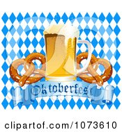 Clipart Pint Of Beer And Soft Pretzels Over An Oktoberfest Banner And Diamond Background Royalty Free Vector Illustration