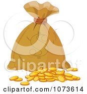 Clipart Money Bag Sack Of Gold Coins Royalty Free Vector Illustration