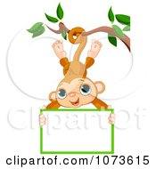 Clipart Cute Monkey Hanging From A Tree With A Sign Royalty Free Vector Illustration