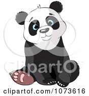 Clipart Cute Sad Panda Bear Sitting Royalty Free Vector Illustration