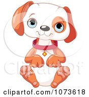 Clipart Cute Puppy Sitting And Begging Royalty Free Vector Illustration