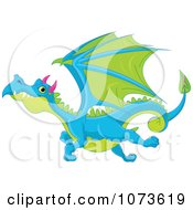 Clipart Blue And Green Flying Dragon Royalty Free Vector Illustration by Pushkin