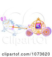 Clipart White Horses Pulling A Fairy Tale Carriage Royalty Free Vector Illustration by Pushkin