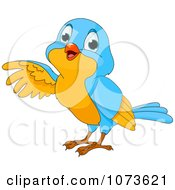 Clipart Cute Blue And Yellow Bird Pointing Royalty Free Vector Illustration by Pushkin