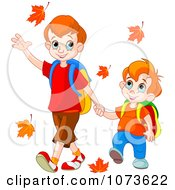 Clipart School Boy Brothers Holding Hands And Walking To School Through Autumn Leaves Royalty Free Vector Illustration by Pushkin