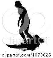 Clipart Black And White Grungy Surfer Dude Silhouette 6 Royalty Free Vector Illustration