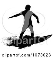 Clipart Black And White Grungy Surfer Dude Silhouette 7 Royalty Free Vector Illustration
