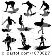 Clipart Black And White Grungy Surfer Dude Silhouettes Royalty Free Vector Illustration