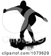 Clipart Black And White Grungy Surfer Dude Silhouette 2 Royalty Free Vector Illustration by Paulo Resende
