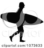 Clipart Black And White Surfer Dude Silhouette 1 Royalty Free Vector Illustration