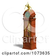 Clipart 3d Louis XV Grandfather Clock 2 Royalty Free CGI Illustration