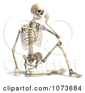 Clipart 3d Human Male Skeleton Sitting And Thinking Royalty Free CGI Illustration