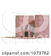 Clipart 3d Medieval Pink Palace And Patio 2 Royalty Free CGI Illustration
