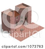 Clipart 3d Medieval Pink Palace And Patio 3 Royalty Free CGI Illustration by Ralf61